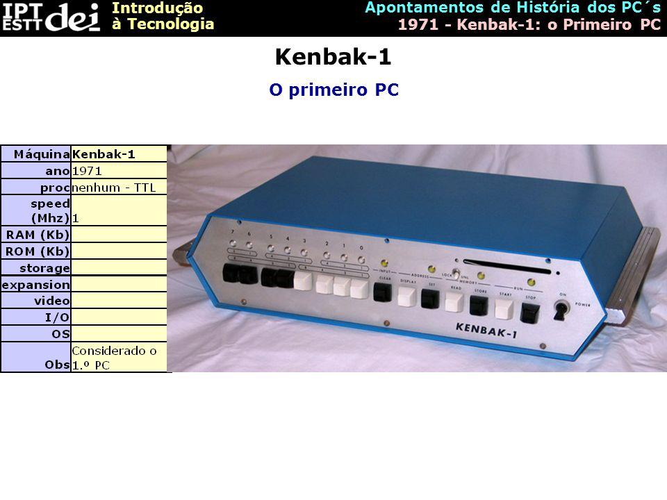 Kenbak-1 O primeiro PC Apontamentos de História dos PC´s
