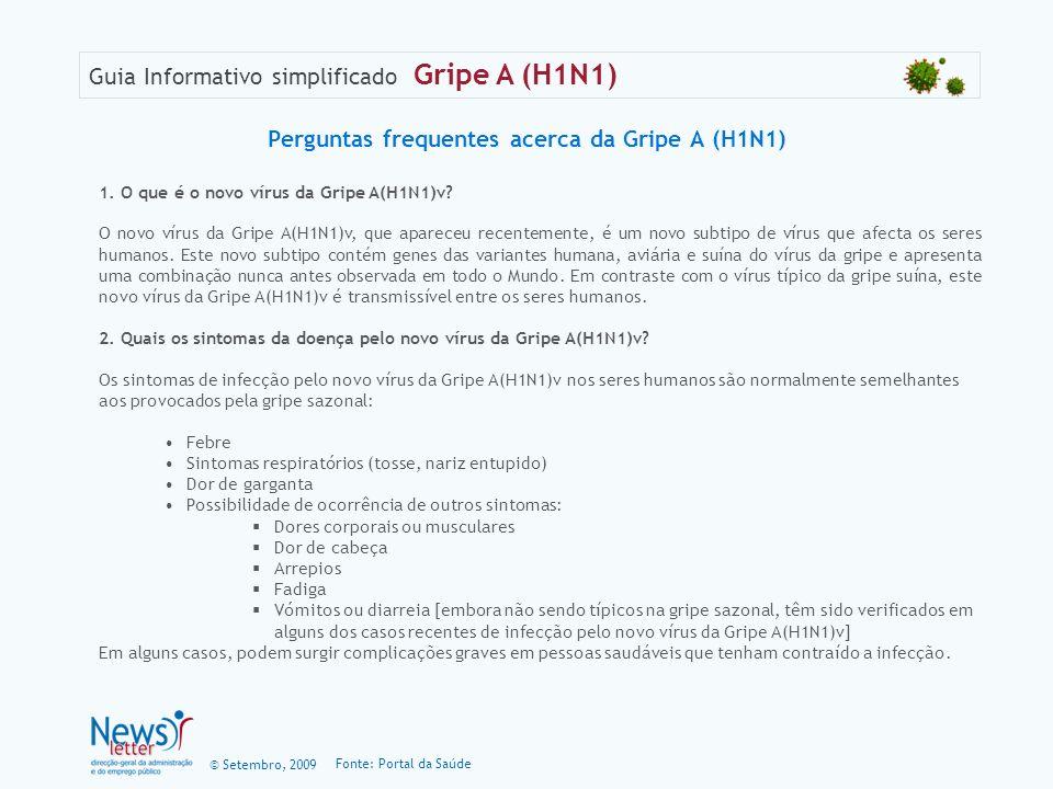 Perguntas frequentes acerca da Gripe A (H1N1)