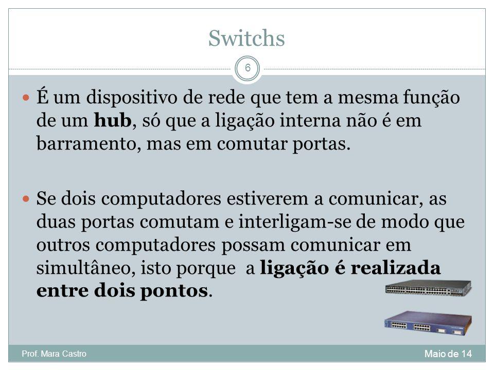 Switchs É um dispositivo de rede que tem a mesma função de um hub, só que a ligação interna não é em barramento, mas em comutar portas.