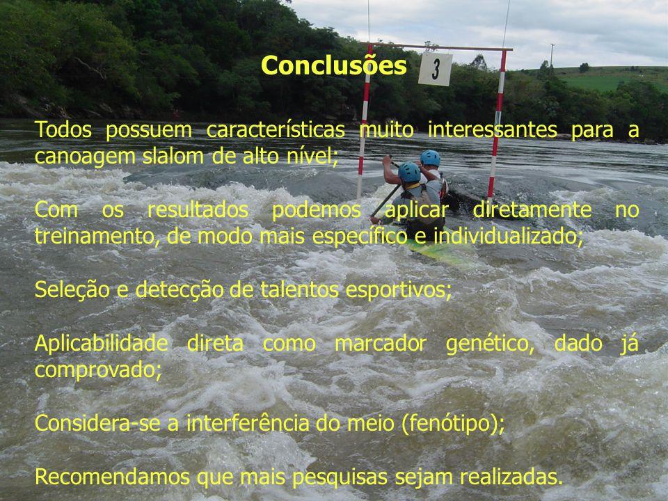 Conclusões Todos possuem características muito interessantes para a canoagem slalom de alto nível;