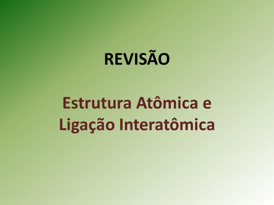 REVISÃO Estrutura Atômica e Ligação Interatômica