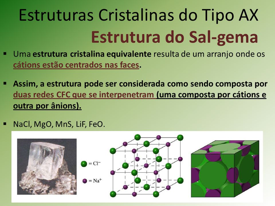 Estruturas Cristalinas do Tipo AX Estrutura do Sal-gema