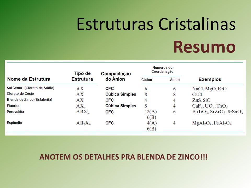 Estruturas Cristalinas Resumo