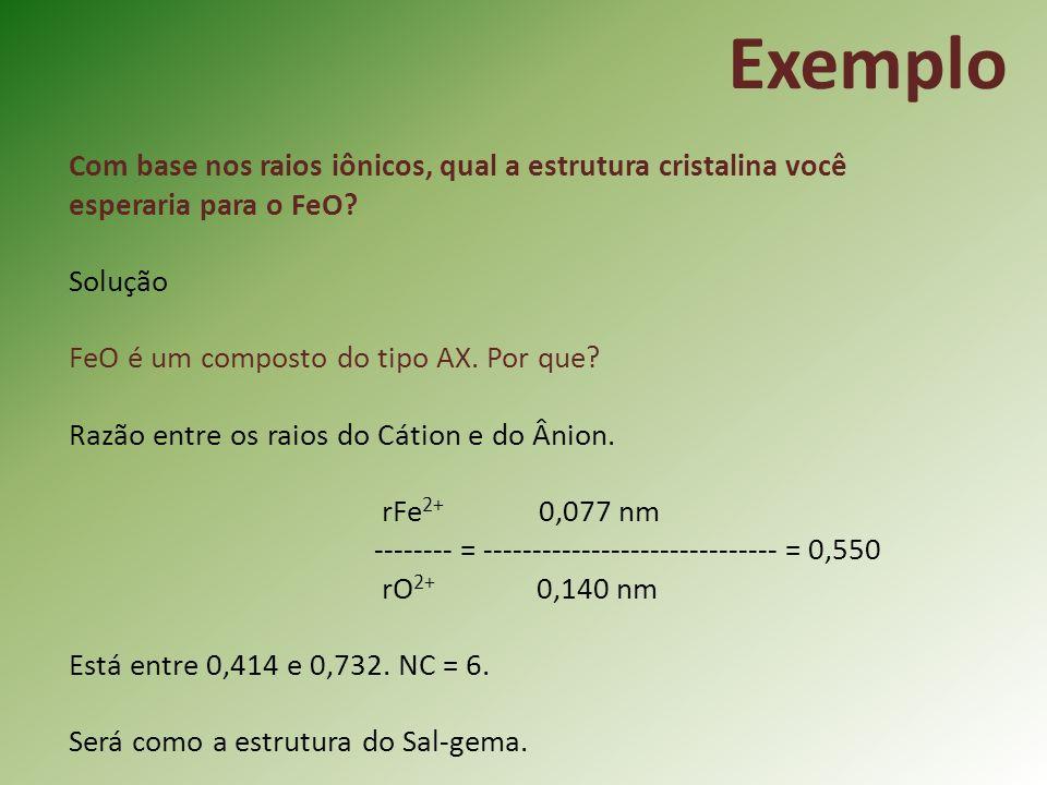 Exemplo Com base nos raios iônicos, qual a estrutura cristalina você esperaria para o FeO Solução.