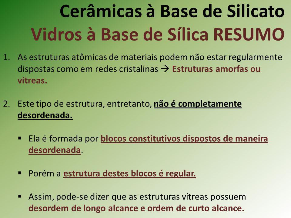 Cerâmicas à Base de Silicato Vidros à Base de Sílica RESUMO