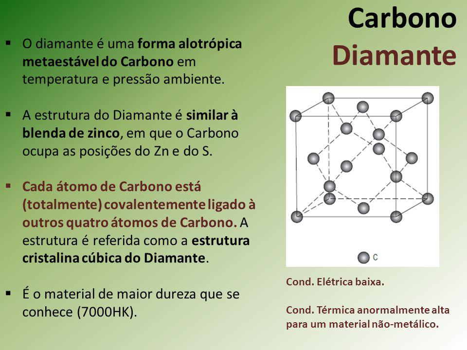 Carbono Diamante O diamante é uma forma alotrópica metaestável do Carbono em temperatura e pressão ambiente.