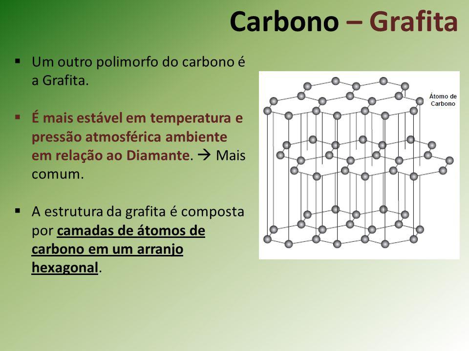 Carbono – Grafita Um outro polimorfo do carbono é a Grafita.
