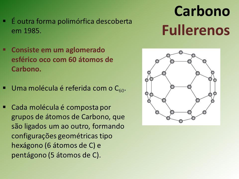 Carbono Fullerenos É outra forma polimórfica descoberta em 1985.