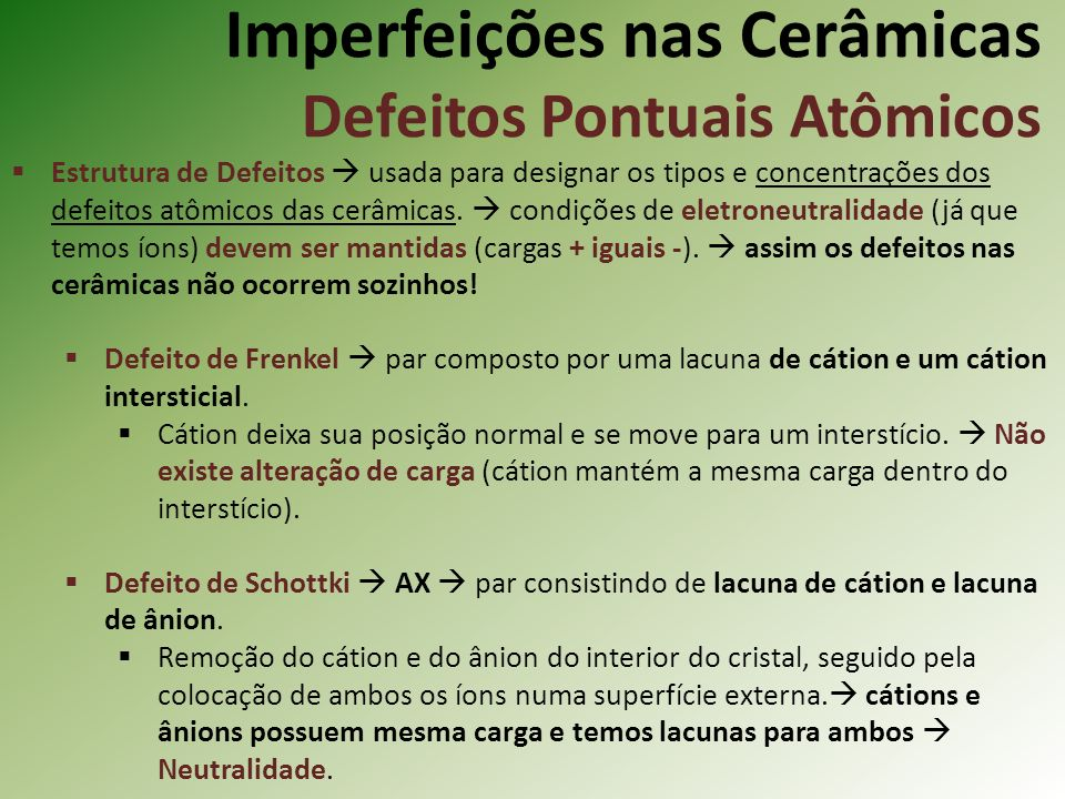 Imperfeições nas Cerâmicas Defeitos Pontuais Atômicos