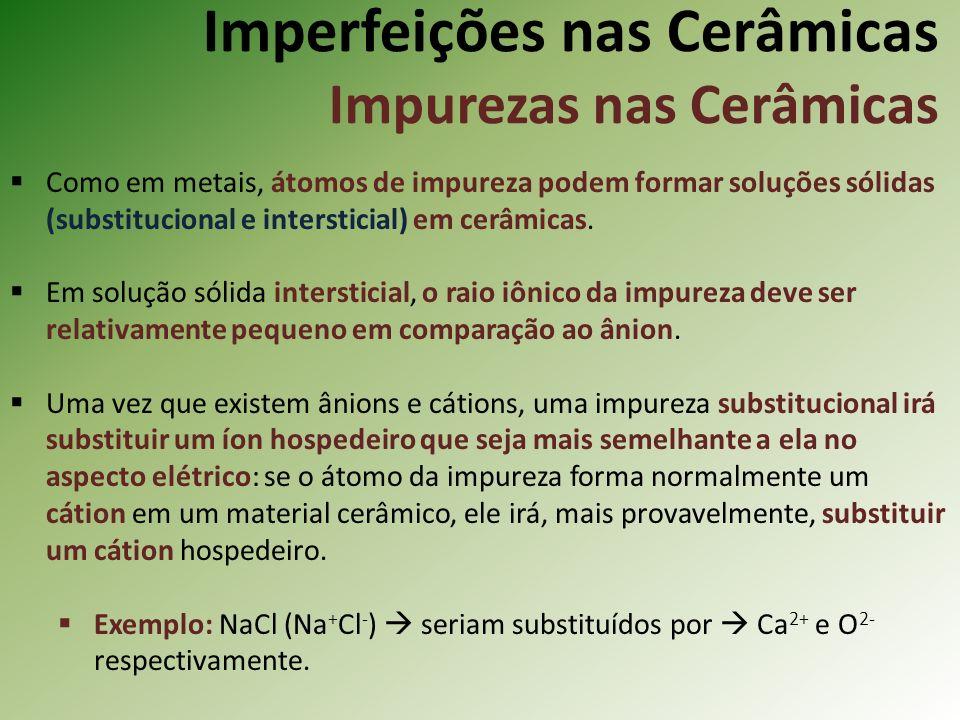 Imperfeições nas Cerâmicas Impurezas nas Cerâmicas
