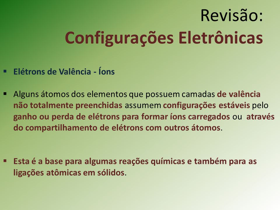 Revisão: Configurações Eletrônicas