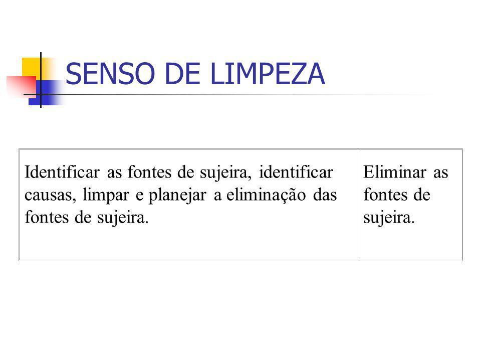 SENSO DE LIMPEZA Identificar as fontes de sujeira, identificar causas, limpar e planejar a eliminação das fontes de sujeira.
