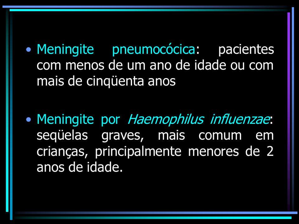 Meningite pneumocócica: pacientes com menos de um ano de idade ou com mais de cinqüenta anos