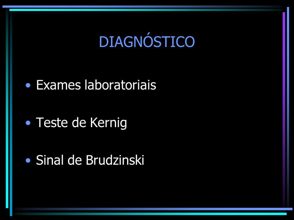 DIAGNÓSTICO Exames laboratoriais Teste de Kernig Sinal de Brudzinski