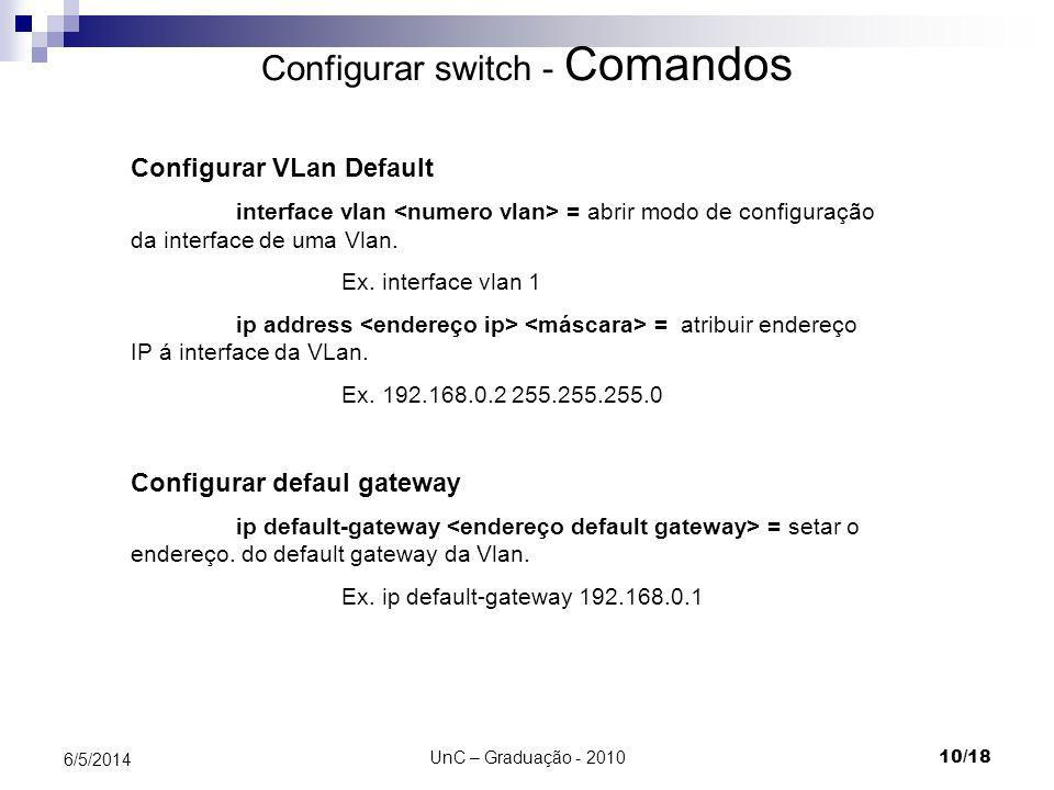 Configurar switch - Comandos
