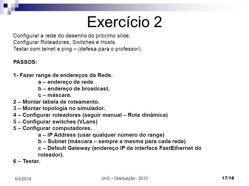 Exercício 2 Configurar a rede do desenho do próximo slide.