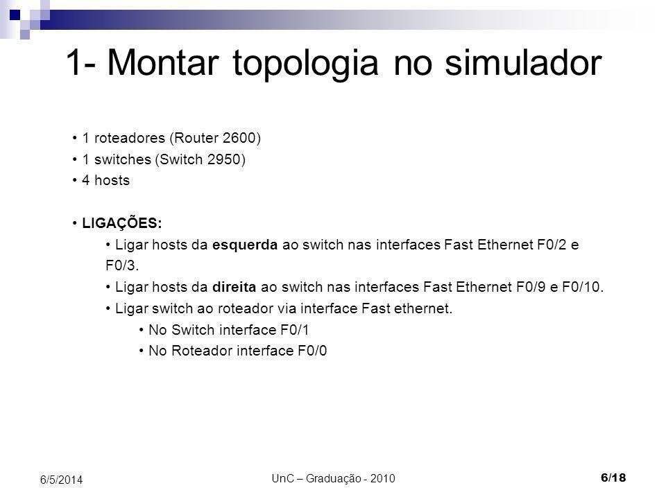 1- Montar topologia no simulador