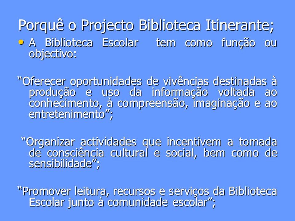 Porquê o Projecto Biblioteca Itinerante;