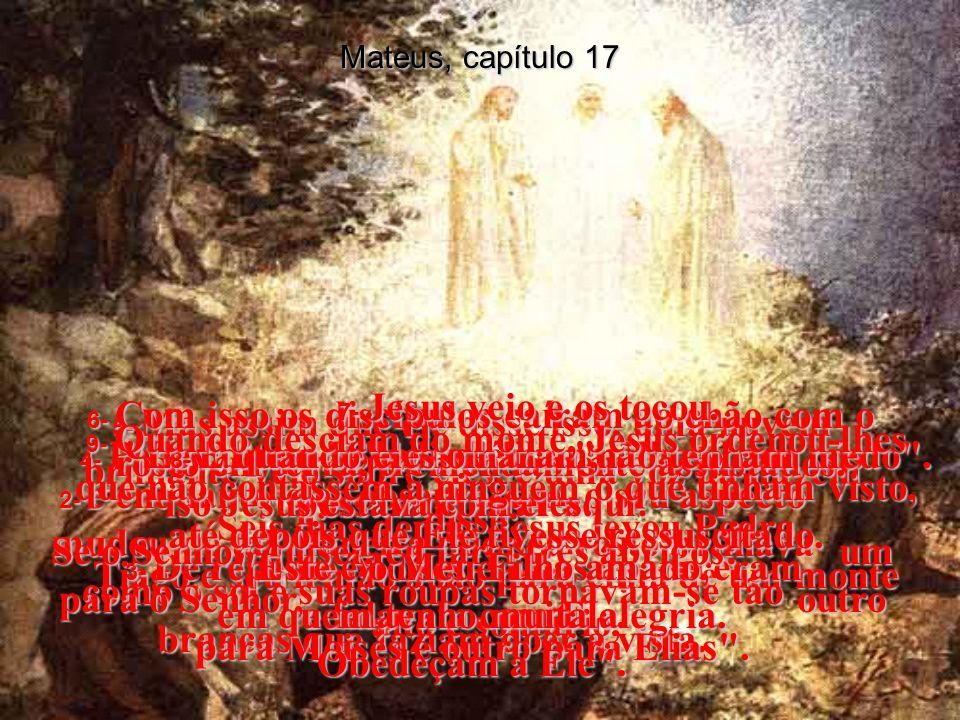 Mateus, capítulo 17 7- Jesus veio e os tocou. Levantem-se , disse Ele, não tenham medo .