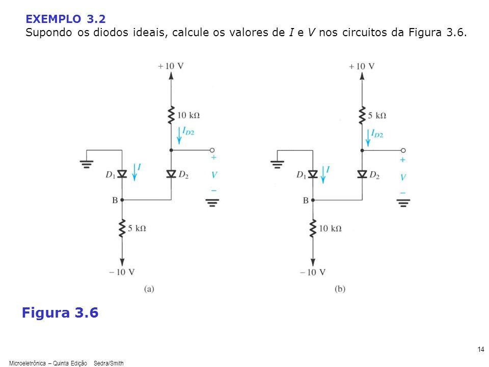 EXEMPLO 3.2 Supondo os diodos ideais, calcule os valores de I e V nos circuitos da Figura 3.6. sedr42021_0306a.jpg.