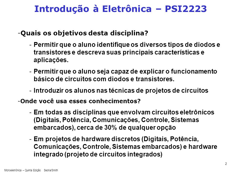 Introdução à Eletrônica – PSI2223