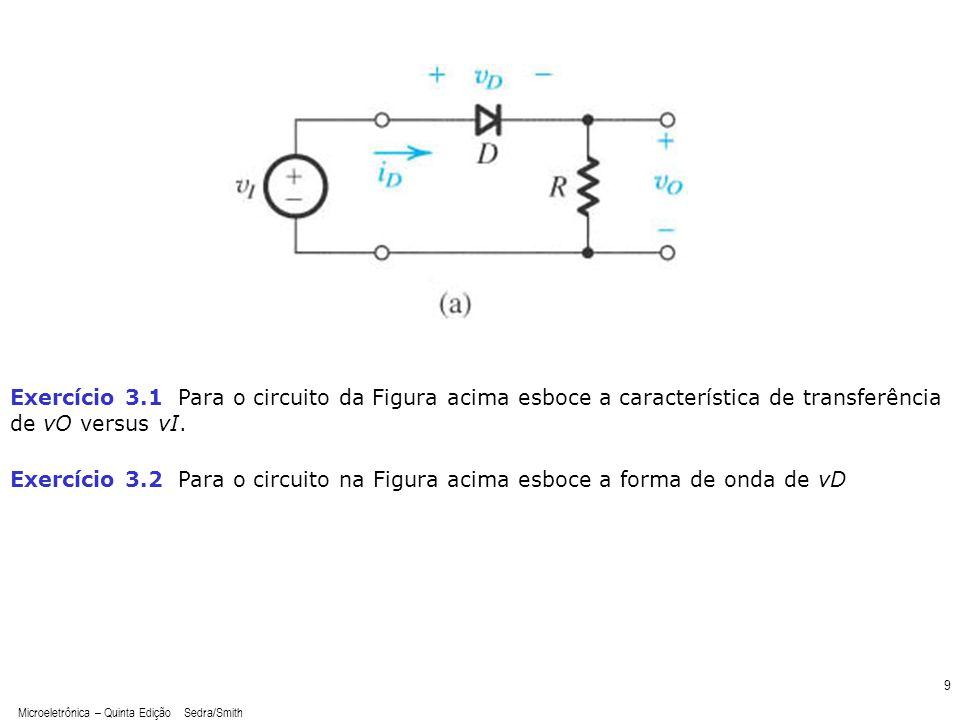 Exercício 3.1 Para o circuito da Figura acima esboce a característica de transferência de vO versus vI.