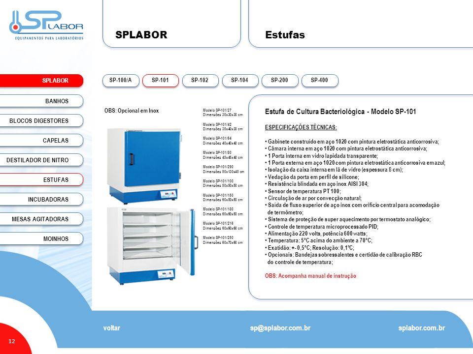 SPLABOR Estufas Estufa de Cultura Bacteriológica - Modelo SP-101