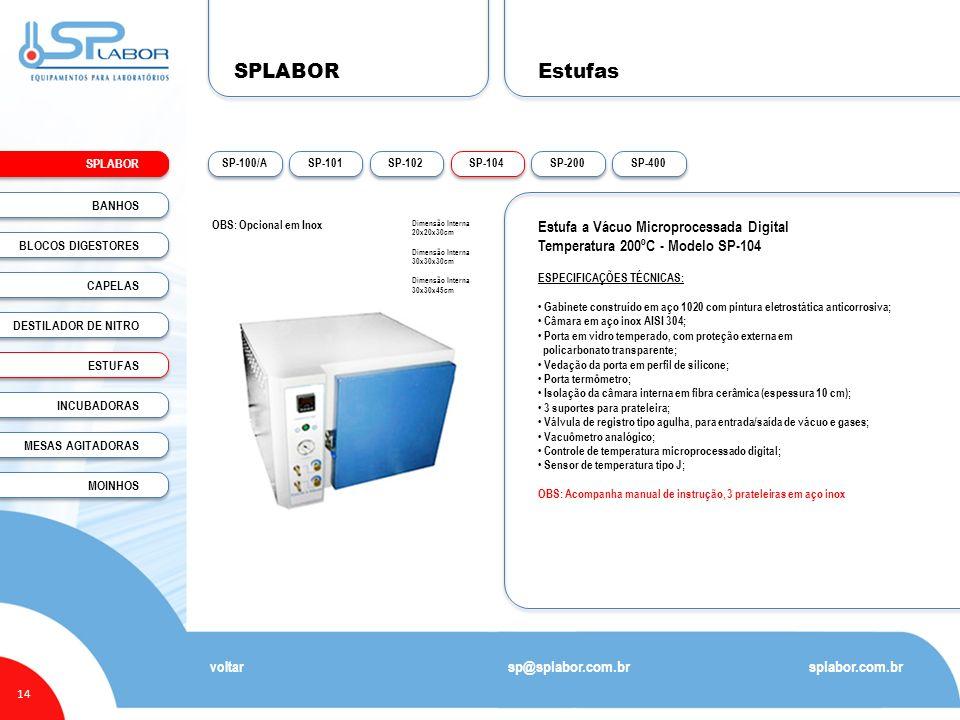 SPLABOR Estufas Estufa a Vácuo Microprocessada Digital