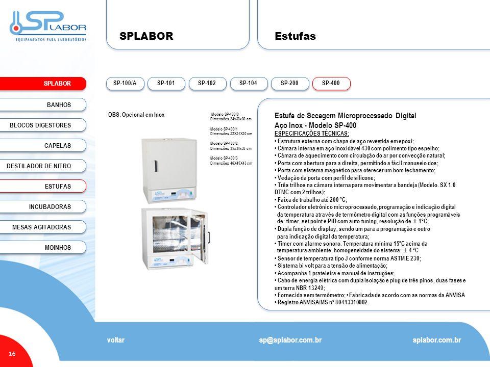 SPLABOR Estufas Estufa de Secagem Microprocessado Digital