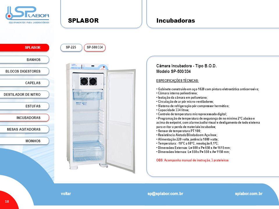 SPLABOR Incubadoras Câmara Incubadora - Tipo B.O.D. Modelo SP-500/334