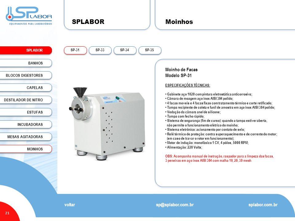 SPLABOR Moinhos Moinho de Facas Modelo SP-31 sp@splabor.com.br