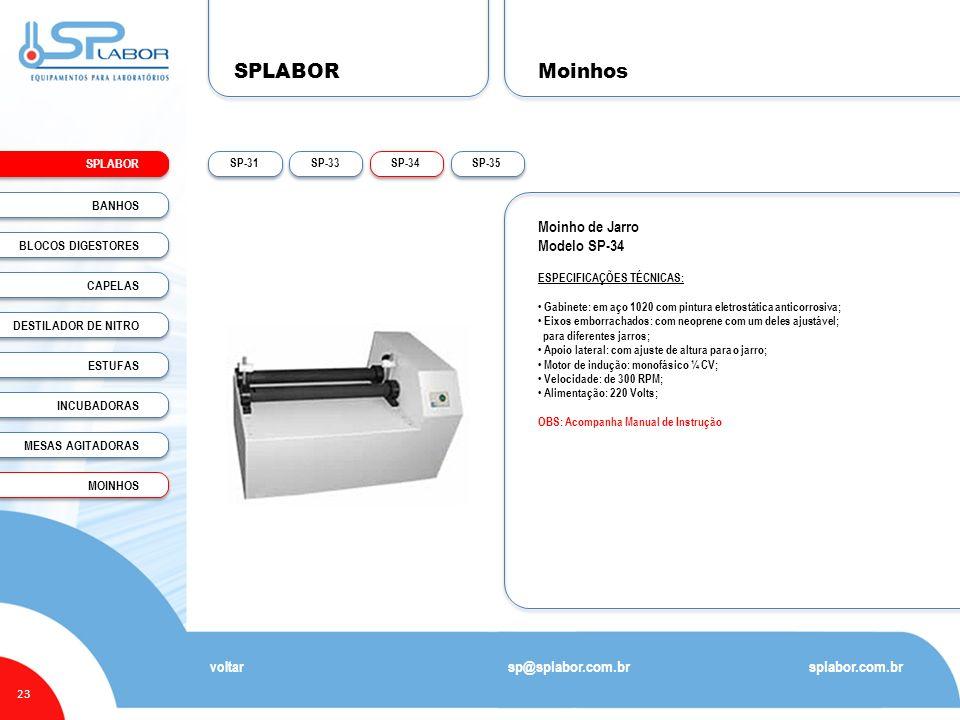 SPLABOR Moinhos Moinho de Jarro Modelo SP-34 sp@splabor.com.br