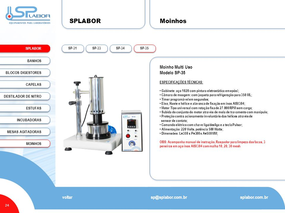 SPLABOR Moinhos Moinho Multi Uso Modelo SP-35 sp@splabor.com.br