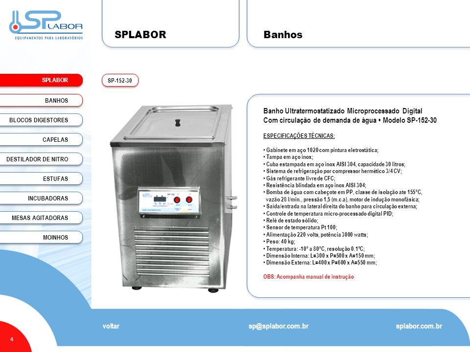 SPLABOR Banhos Banho Ultratermostatizado Microprocessado Digital
