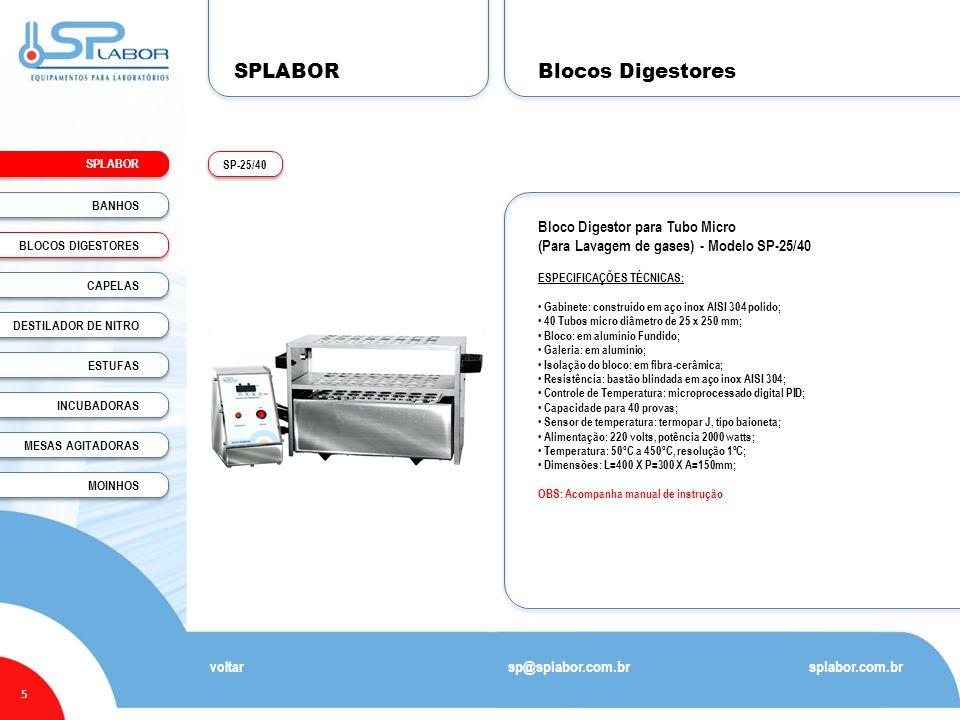 SPLABOR Blocos Digestores Bloco Digestor para Tubo Micro