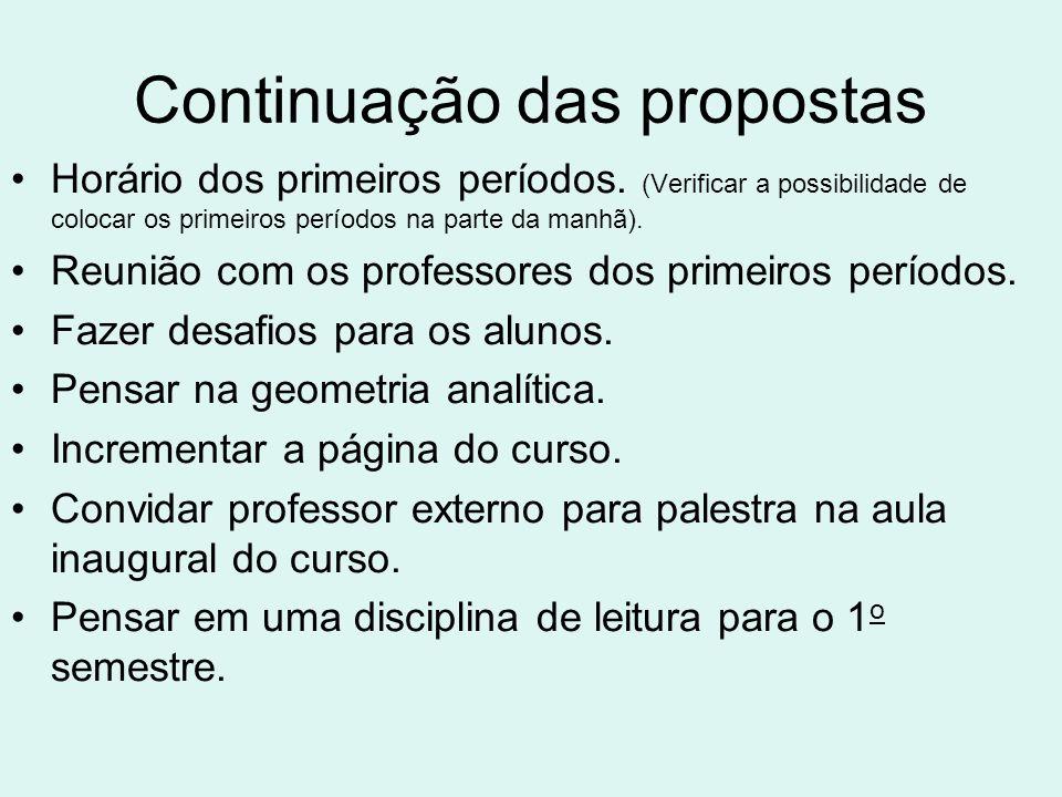 Continuação das propostas