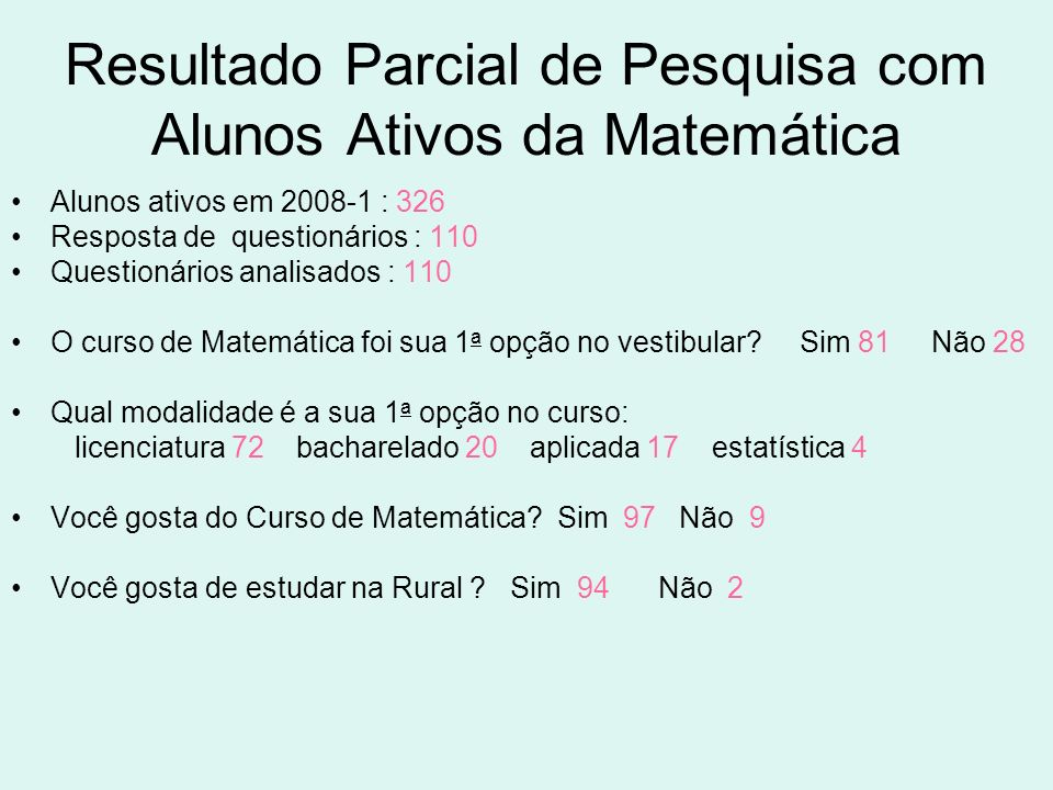 Resultado Parcial de Pesquisa com Alunos Ativos da Matemática