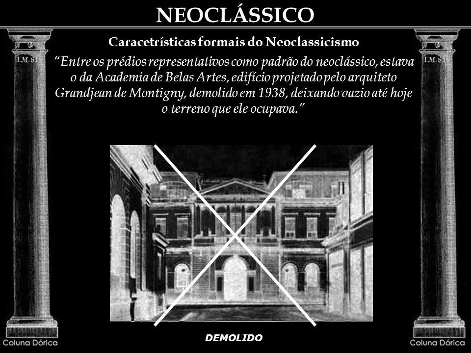 Caracetrísticas formais do Neoclassicismo