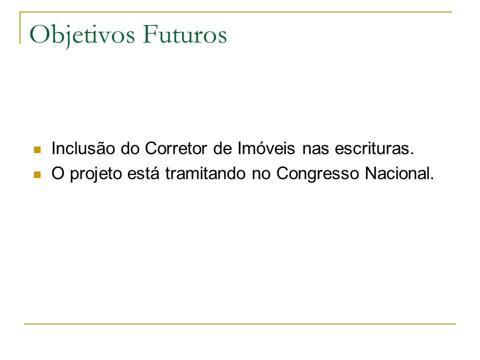 Objetivos Futuros Inclusão do Corretor de Imóveis nas escrituras.