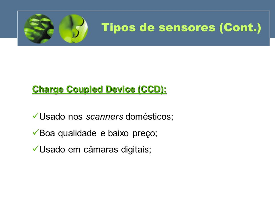 Tipos de sensores (Cont.)