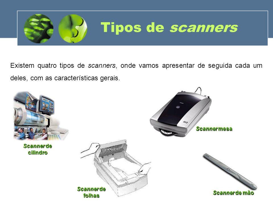 Tipos de scanners Existem quatro tipos de scanners, onde vamos apresentar de seguida cada um deles, com as características gerais.