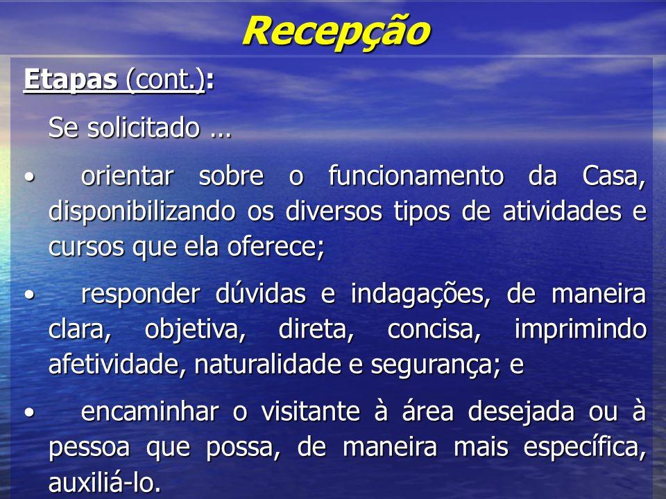 Recepção Etapas (cont.): Se solicitado ...