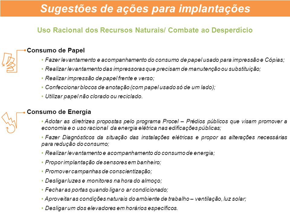 Sugestões de ações para implantações