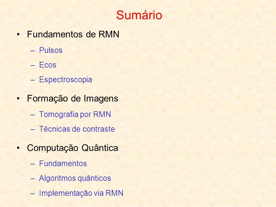 Sumário Fundamentos de RMN Formação de Imagens Computação Quântica