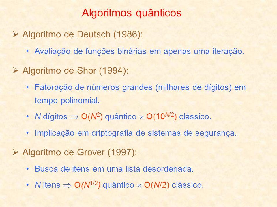Algoritmos quânticos Algoritmo de Deutsch (1986):