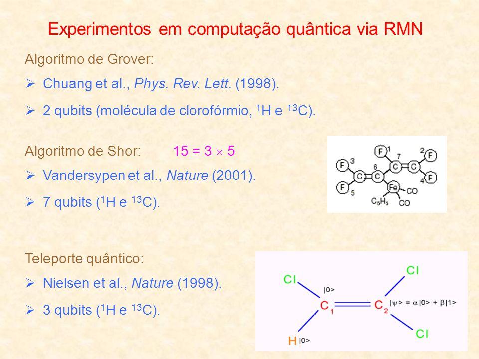 Experimentos em computação quântica via RMN