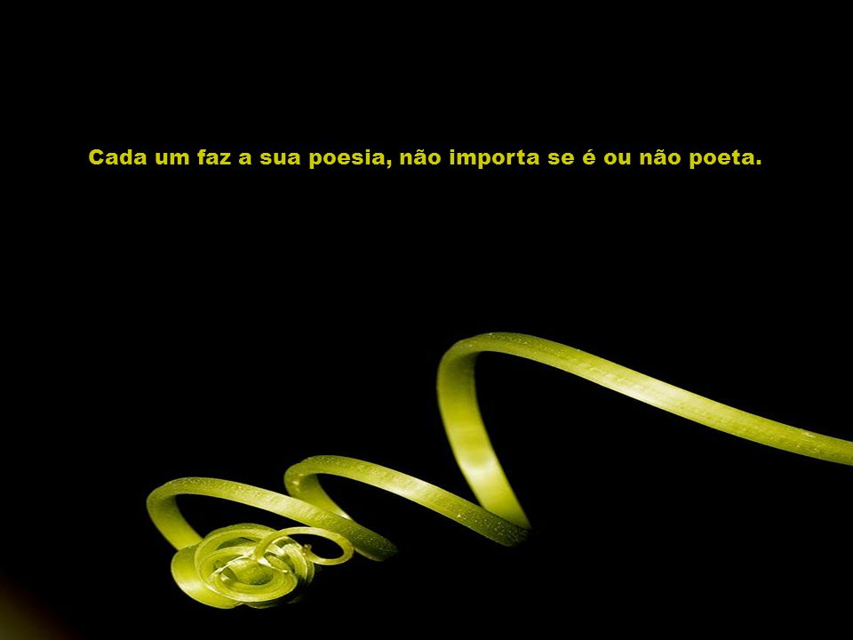 Cada um faz a sua poesia, não importa se é ou não poeta.
