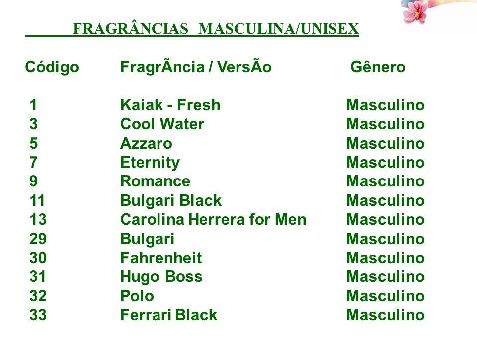 FRAGRÂNCIAS MASCULINA/UNISEX