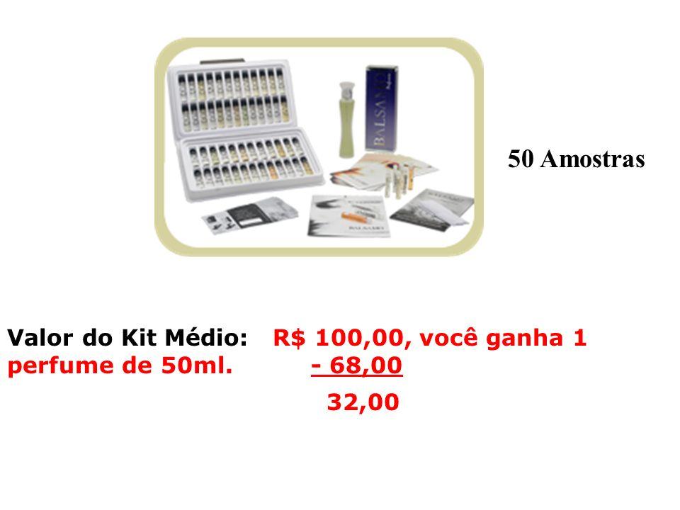 Valor do Kit Médio: R$ 100,00, você ganha 1 perfume de 50ml. - 68,00