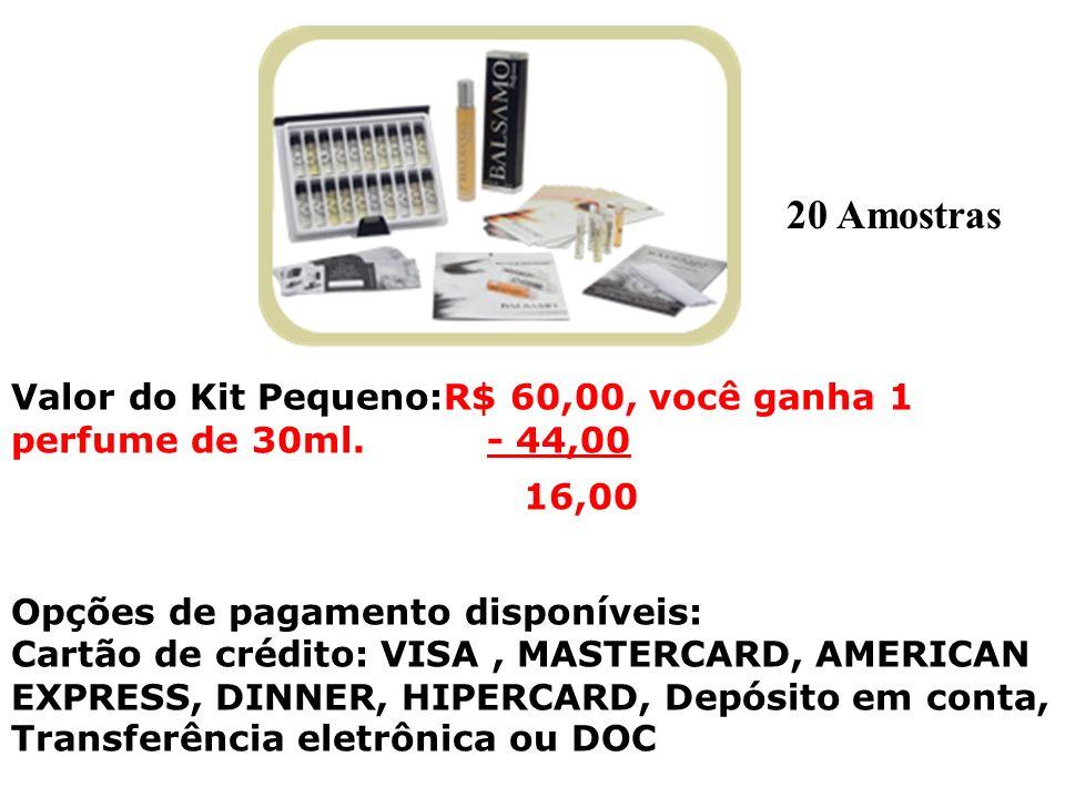 Valor do Kit Pequeno:R$ 60,00, você ganha 1 perfume de 30ml. - 44,00